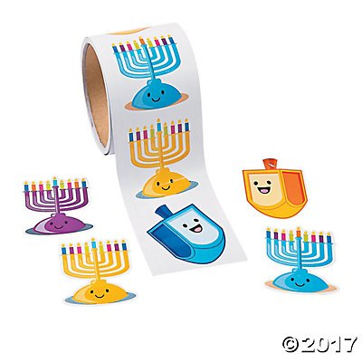 Hanukkah Candle Stickers - 100 Stickers per Roll (Chanukah Stickers)