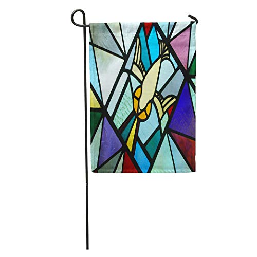 - Nick Thoreaufhed Garden Flag Colorful Baptism Stained Glass Holy Spirit Window Dove Christian Church Home Yard House Decor Barnner Outdoor Stand 12x18 Inches Flag