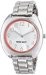 Nine West Women's NW/1569ORSB Silver-Tone Easy-to-Read Bracelet Watch