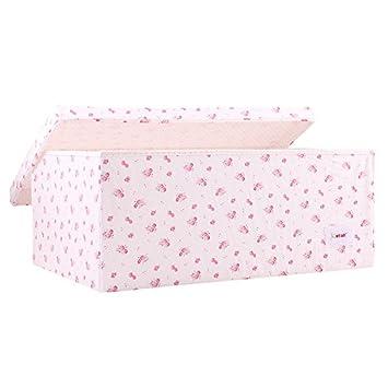 Minene Large Storage Box with Lid Cream Vinatge Roses star storage