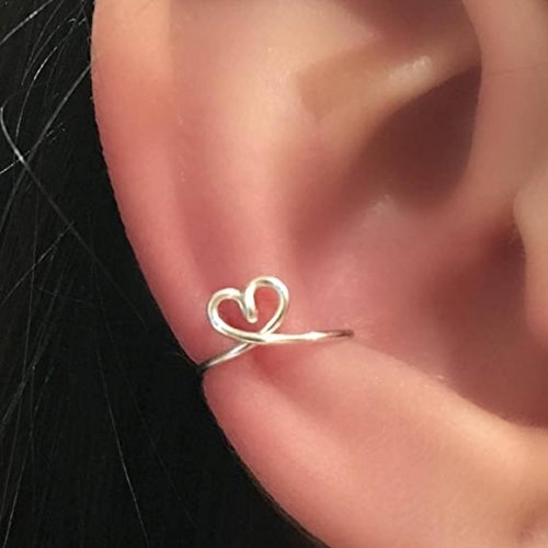 Heart Shaped Ear Cuff Clip on Fake Cartilage Earring 925 Sterling Silver or 14K Yellow/Rose Gold Filled