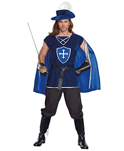 Musketeer Male Adult Costumes (Dreamgirl 10000 Mighty Musketeer Adult Mens Costume - XXL - Blue/Silver)