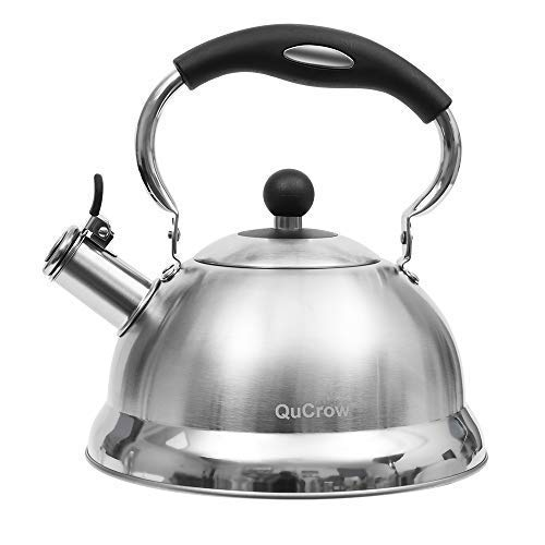 (QuCrow Whistling Tea Kettle with Heat-Proof Handle, Kitchen Grade Stainless Steel Teapot Stovetops, 3 Quart,)