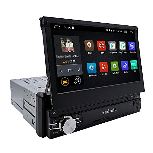 YODY Android Single Din Car Stereo Navigation 7 Inch Capacitive Touch Screen Support Bluetooth WiFi GPS Mirror Link USB/SD/AM/FM Android Car Radio with Backup Camera and Microphone (No DVD)