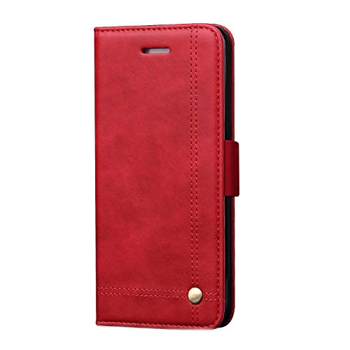 Samsung Galaxy Note8 Wallet Case,TACOO Premium Pu Leather Kickstand Card Money Slot Magnet Buckle Fold Full Protection Red Phone Cover for Samsung Galaxy Note 8 2017