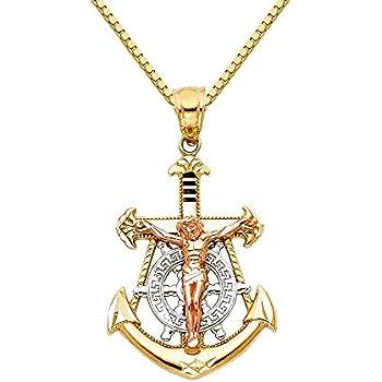 DiamondJewelryNY Double Loop Bangle Bracelet with a St John The Baptist Charm.