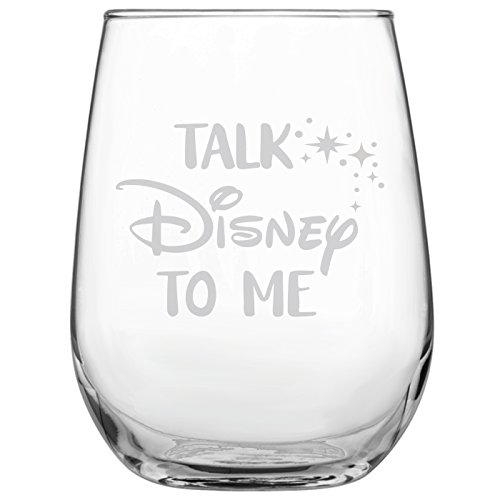 (Talk Disney to Me • 17oz Stemless Wine Glass • Disney-Inspired Glass • Mickey Mouse Fan • Minnie Mouse Fan • Birthday Present • Gift for Friend )