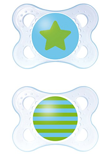 MAM Clear Orthodontic Pacifier, Boy, 0-6 Months, 2-Count