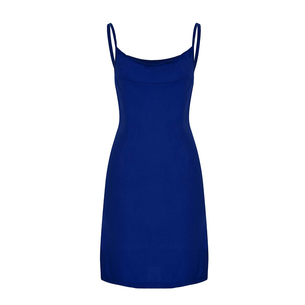 BAOHOKE Low Cut Halter Solid Color Camisole Skinny Split Mini Dresses//Sexy Slim Bodycon Sleeveless Dress(Blue,XL)