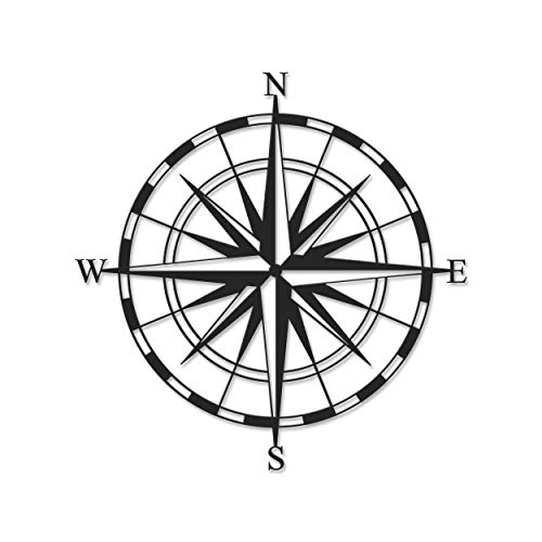 Ada Home Décor MWAB1091 Compass Metal Wall Art 17.72'' x 17.72'' Black (Turkey Wall Art Metal)