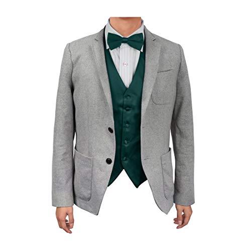 (Dan Smith DGEE0005-M Dark Green Plain Microfiber Beautiful Waistcoat Satin Boyfriends Gift Vest Matching Bow Tie)