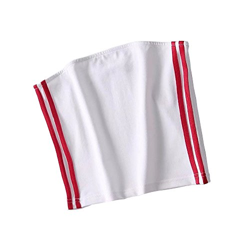(Bcharm Sexy Side Striped Bandeau Top Strapless Stretchy Tube Top Crop Top Wrap Chest (White-Red Stripe, Small/Medium))