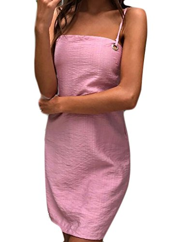 Shift Strap Backless Domple Bandage Pink Women Mini Dress Club Summer Spaghetti Slip s qwCxBOxFH