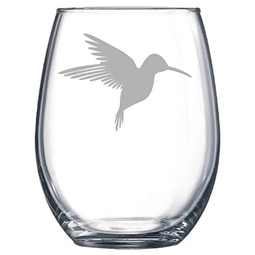 (Humming Bird Etched Stemless Wine glass, Pint Glass, Stemmed wine Glass, Rocks glass, Pilsner or Nonic Pint glass)
