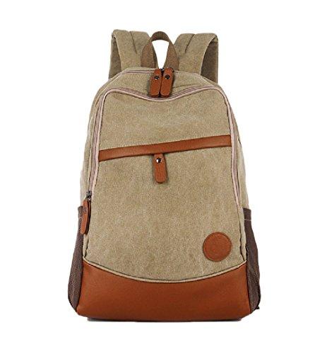Nasis Unisex Women Men's Basic Canvas Backpack Multi Function Daypacks AL5006 light khaki