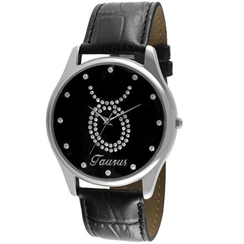 crystal-studded-face-zodiac-horoscope-black-leather-silver-watch-taurus