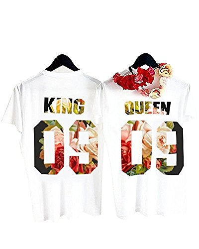 Gemijack King and Queen Couple Shirts Short Sleeve Floral White Tee Matching T-Shirts by Gemijack