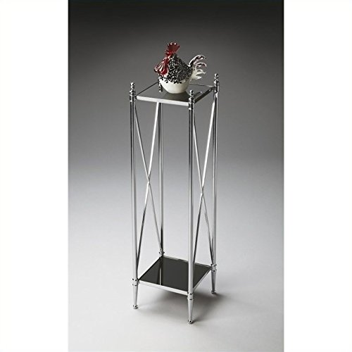 Butler Specialty Company Polished Aluminum/Black Mirror Pedestal Plant Stand Butler Specialty Company Pedestal