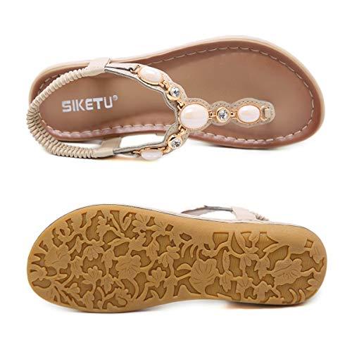 Tongs Femme Flat Sandales Plates Elegant Été Chaussures strap Décontracté T Bohemia Zoerea Plage Beige Confort Strass adx4wzR4
