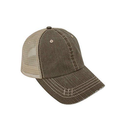 al Cotton Mesh Cap-Brown with Tan Back (Distressed Womens Cap)