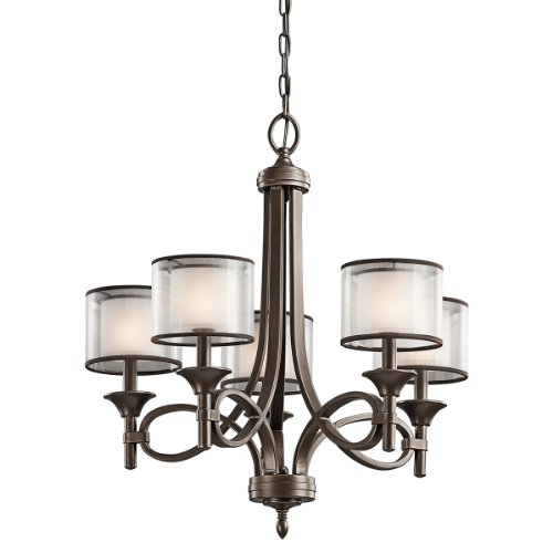 Kichler Lighting 42381MIZ Lacey 5-Light Chandelier Mission Bronze with Cased Opal Inner Diffusers and Light Umber Translucent Outer Shades