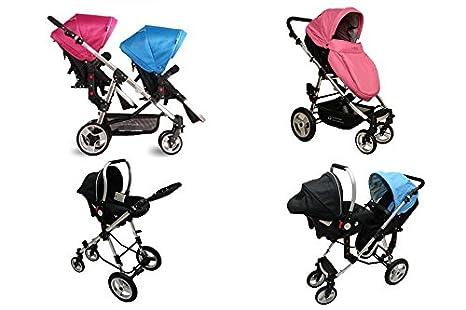 Baby Five Star Carrito carro carrito Gemelos Buggy nuevo OVP (Rosa & Azul variadas