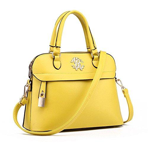 qckj Coque Fashion Cross Body Sac à bandoulière femmes PU Sac à main jaune