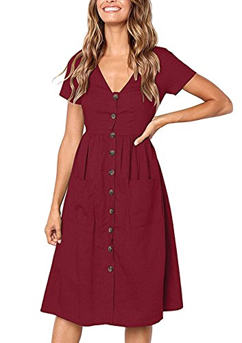 Yidarton Women's Summer Short Sleeve V Neck Button Down Causal Plain Swing Midi Dress with Pockets (Red Wine,Large)