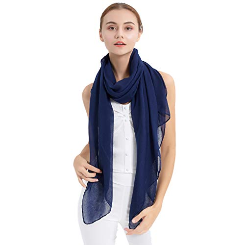 LMVERNA Cotton Shawls And Wraps For Women Solid Color scarfs Crinkle Hijab Soft Lightweight Scarf(Navy blue)
