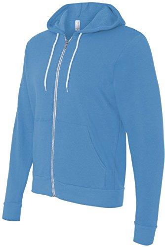 Bella 3739Unisex Polialgodón forro polar sudadera con capucha y cremallera completa para hombre Azul De Neón