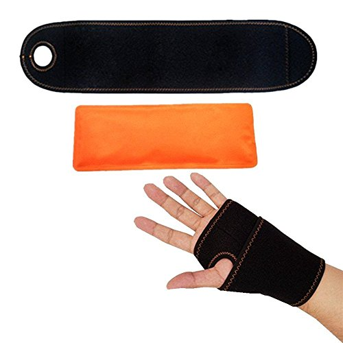 Wrist Cold Therapy Wrap (Wrist Ice Pack Wrap, Hand Support Brace with Gel Pack for Hot and Cold Therapy, Microwaveable and Reusable, for Carpal Tunnel, Rheumatoid Arthritis, Tendonitis, Weight Lifting, Unique Color- Orange)