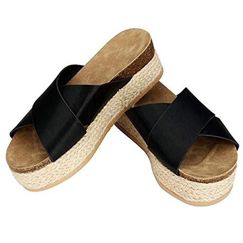 Womens Platform Espadrilles Wedge Sandals Slide Sandals Open Toe Halter Ankle Strap Summer Flat Sandals (Black,39)