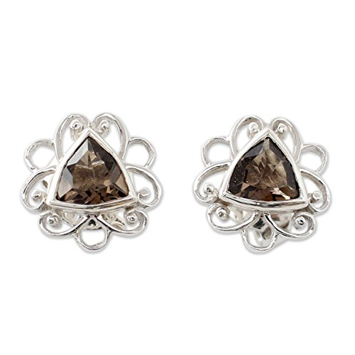 - NOVICA Smoky Quartz .925 Sterling Silver Button Earrings 'Delhi at Dusk'