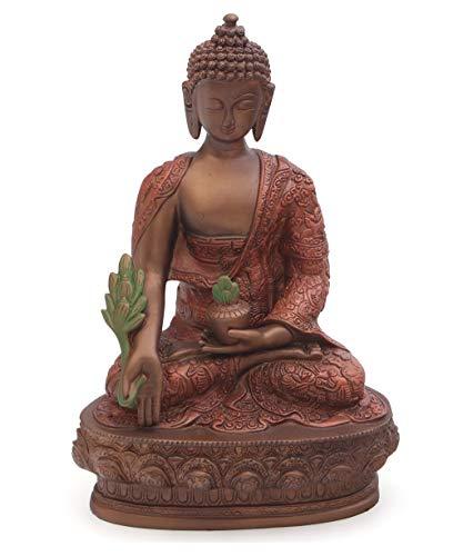 Medicine Buddha Statue in Bronze Color, 12 Inches