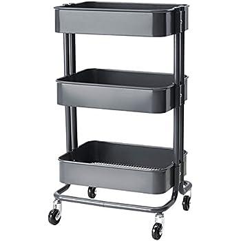 RASKOG Home Kitchen Bedroom Storage Utility Cart, Dark Gray