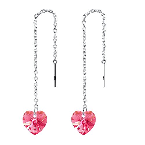 EVER FAITH 925 Sterling Silver Pink Swarovski Crystals Adorable Love Heart Ear Threader Dangle Earrings ()
