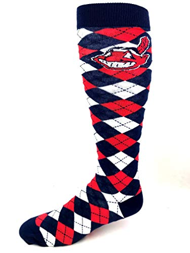 - For Bare Feet MLB Cleveland Indians Navy Red & White Plaid Thin Long Socks - Size Medium