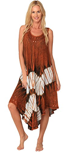 Ingear Sleeveless Sequin Handkerchief Embroidery Kaftan Umbrella dress Cover Up (One Size, Rust)