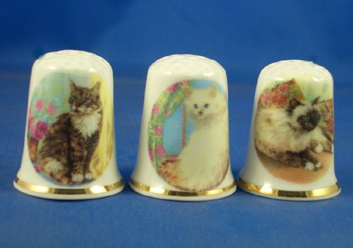 Porcelain China Collectable Thimbles - Set of Three Assorted Cats