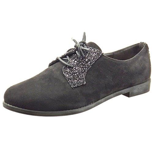 Sopily - Zapatillas de Moda zapato derby Tobillo mujer brillantes brillante Talón Tacón ancho 2 CM - Negro