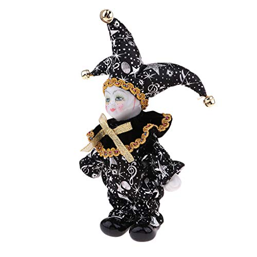 Black Porcelain Dolls Collectible 6inch Height Harlequin Doll in Costume, Creative Valentin Gifts for Him or Girlfriend -