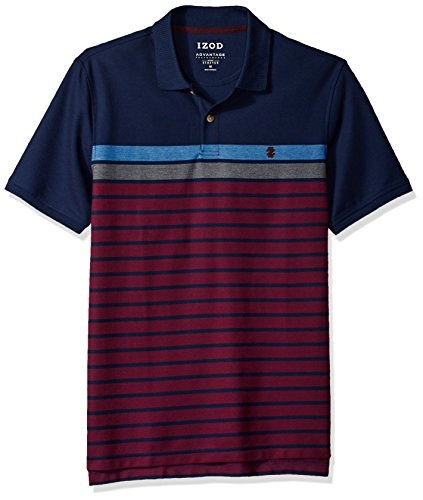 IZOD Mens Advantage Performance Colorblock Stripe Polo