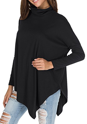 Dolman Sleeve Tunic Sweater - levaca Womens Long Batwing Sleeve Turtleneck Hankerchief Hem Loose Tunic Black L