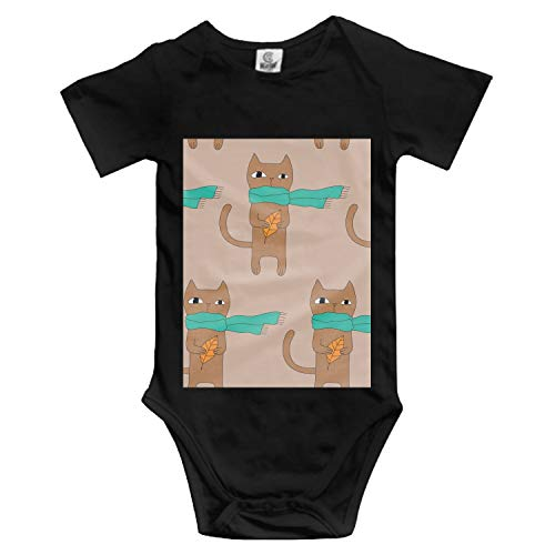 Price comparison product image Scarfed Cat Infant Baby Boys Girls Clothing Shirts Short Sleeves Rompers Jumpsuit