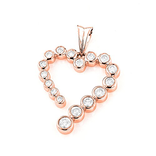 Luxurman Ladies Shiny 14k Natural 0.6 Ctw Diamond Affordable Journey Pendant Heart Charm (Rose Gold)
