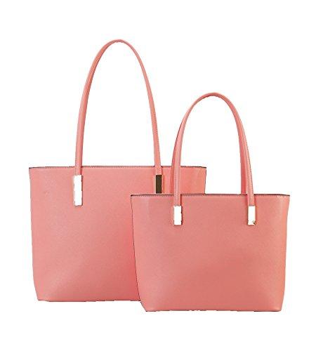 Top Tote Designed 2pcset Should Bag Leather Fashion Handle 3 Hobo Set 2Pcs Purse Handbag Women's New pink avTWt0