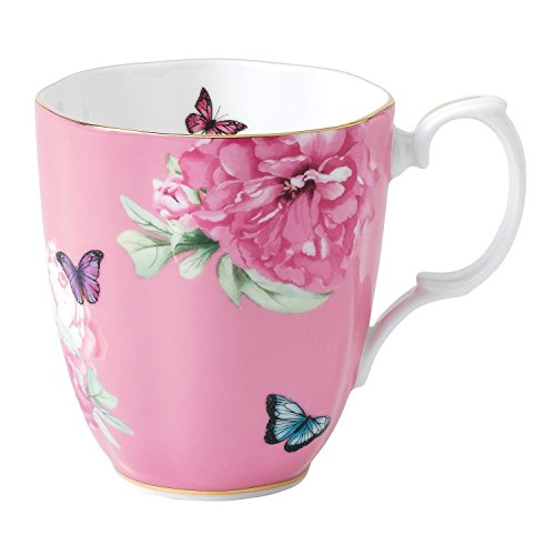 Floral Collection Pink Mug - Royal Albert 40001828 Friendship Vintage Mug Designed by Miranda Kerr, 13.5-Ounce, Pink