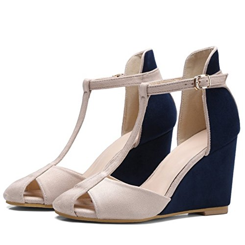 Strap High Elegant T Women Buckle Wedges Heel sandals 761 Blue TAOFFEN R4qPIwU4
