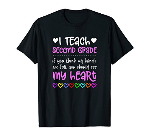 Second Grade Teacher Tshirt Gift Hands Heart Love Shirt 2nd