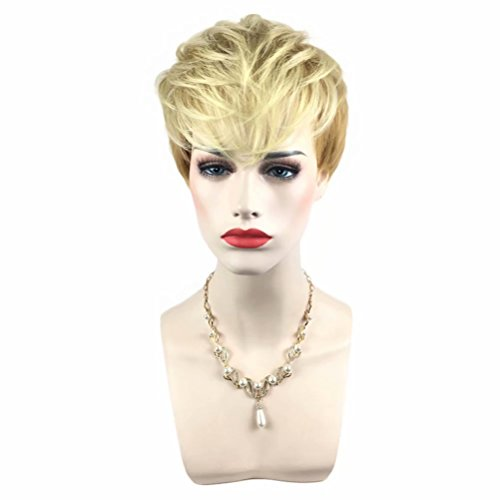 Kadiya Daily Use Pixie Cut Mohawk Design Short Light Blonde Lady Summer Ball Party Wig